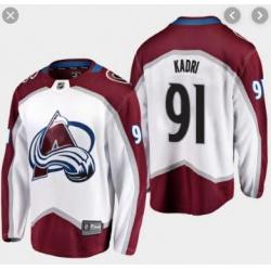 Men's Colorado Avalanche Nazem Kadri #91 White Away Breakaway Player Jersey