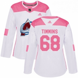 Womens Adidas Colorado Avalanche 68 Conor Timmins Authentic WhitePink Fashion NHL Jersey