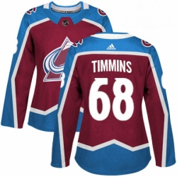 Womens Adidas Colorado Avalanche 68 Conor Timmins Premier Burgundy Red Home NHL Jersey