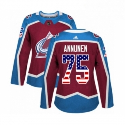 Womens Adidas Colorado Avalanche 75 Justus Annunen Authentic Burgundy Red USA Flag Fashion NHL Jersey