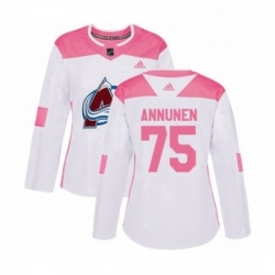 Womens Adidas Colorado Avalanche 75 Justus Annunen Authentic White Pink Fashion NHL Jersey
