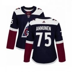 Womens Adidas Colorado Avalanche 75 Justus Annunen Premier Navy Blue Alternate NHL Jersey