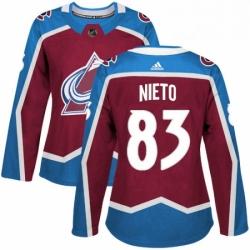 Womens Adidas Colorado Avalanche 83 Matt Nieto Premier Burgundy Red Home NHL Jersey