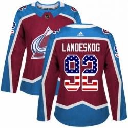 Womens Adidas Colorado Avalanche 92 Gabriel Landeskog Authentic Burgundy Red USA Flag Fashion NHL Jersey