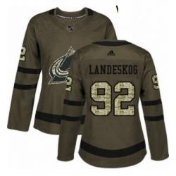 Womens Adidas Colorado Avalanche 92 Gabriel Landeskog Authentic Green Salute to Service NHL Jersey
