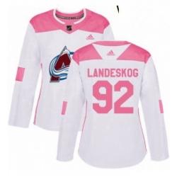Womens Adidas Colorado Avalanche 92 Gabriel Landeskog Authentic WhitePink Fashion NHL Jersey