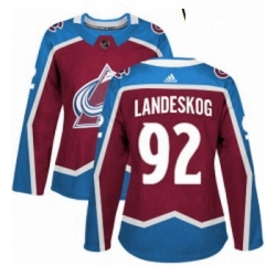 Womens Adidas Colorado Avalanche 92 Gabriel Landeskog Premier Burgundy Red Home NHL Jersey