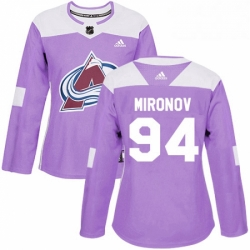 Womens Adidas Colorado Avalanche 94 Andrei Mironov Authentic Purple Fights Cancer Practice NHL Jersey