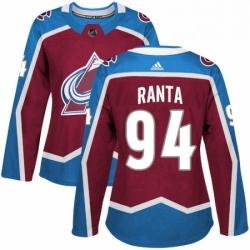 Womens Adidas Colorado Avalanche 94 Sampo Ranta Authentic Burgundy Red Home NHL Jersey