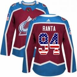 Womens Adidas Colorado Avalanche 94 Sampo Ranta Authentic Burgundy Red USA Flag Fashion NHL Jersey