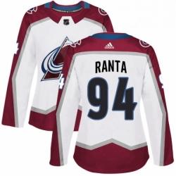 Womens Adidas Colorado Avalanche 94 Sampo Ranta Authentic White Away NHL Jersey