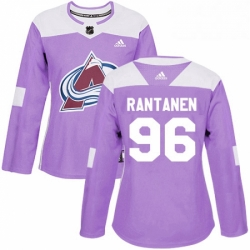 Womens Adidas Colorado Avalanche 96 Mikko Rantanen Authentic Purple Fights Cancer Practice NHL Jersey