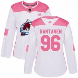 Womens Adidas Colorado Avalanche 96 Mikko Rantanen Authentic WhitePink Fashion NHL Jersey