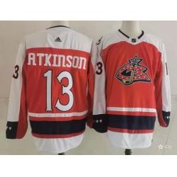 Men Columbus Blue Jackets 13 Cam Atkinson Orange 2021 Retro Stitched NHL Jersey