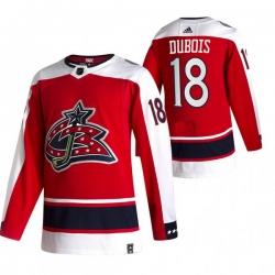 Men Columbus Blue Jackets 18 Pierre Luc Dubois Red Adidas 2020 21 Reverse Retro Alternate NHL Jersey