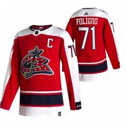 Men Columbus Blue Jackets 71 Nick Foligno Red Adidas 2020 21 Reverse Retro Alternate NHL Jersey
