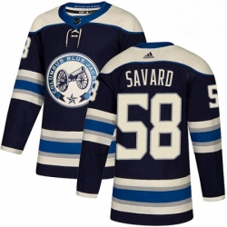 Mens Adidas Columbus Blue Jackets 58 David Savard Authentic Navy Blue Alternate NHL Jersey