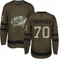 Mens Adidas Columbus Blue Jackets 70 Joonas Korpisalo Authentic Green Salute to Service NHL Jersey