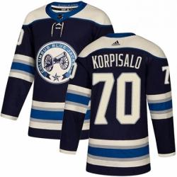 Mens Adidas Columbus Blue Jackets 70 Joonas Korpisalo Authentic Navy Blue Alternate NHL Jersey