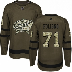 Mens Adidas Columbus Blue Jackets 71 Nick Foligno Authentic Green Salute to Service NHL Jersey