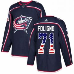 Mens Adidas Columbus Blue Jackets 71 Nick Foligno Authentic Navy Blue USA Flag Fashion NHL Jersey