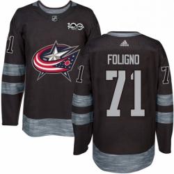 Mens Adidas Columbus Blue Jackets 71 Nick Foligno Premier Black 1917 2017 100th Anniversary NHL Jersey