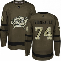 Mens Adidas Columbus Blue Jackets 74 Sam Vigneault Authentic Green Salute to Service NHL Jersey