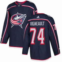 Mens Adidas Columbus Blue Jackets 74 Sam Vigneault Authentic Navy Blue Home NHL Jersey