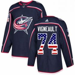 Mens Adidas Columbus Blue Jackets 74 Sam Vigneault Authentic Navy Blue USA Flag Fashion NHL Jersey