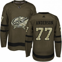 Mens Adidas Columbus Blue Jackets 77 Josh Anderson Authentic Green Salute to Service NHL Jersey