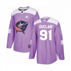 Mens Adidas Columbus Blue Jackets 91 Anthony Duclair Authentic Purple Fights Cancer Practice NHL Jersey