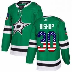 Mens Adidas Dallas Stars 30 Ben Bishop Authentic Green USA Flag Fashion NHL Jersey