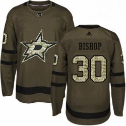 Mens Adidas Dallas Stars 30 Ben Bishop Premier Green Salute to Service NHL Jersey