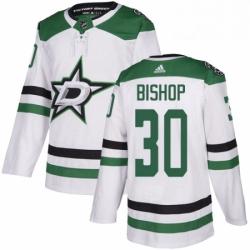 Mens Adidas Dallas Stars 30 Ben Bishop White Road Authentic Stitched NHL Jersey