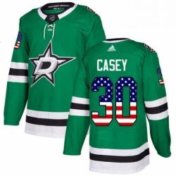 Mens Adidas Dallas Stars 30 Jon Casey Authentic Green USA Flag Fashion NHL Jersey