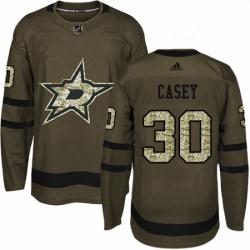 Mens Adidas Dallas Stars 30 Jon Casey Premier Green Salute to Service NHL Jersey