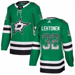 Mens Adidas Dallas Stars 32 Kari Lehtonen Authentic Green Drift Fashion NHL Jersey