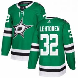 Mens Adidas Dallas Stars 32 Kari Lehtonen Authentic Green Home NHL Jersey