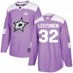 Mens Adidas Dallas Stars 32 Kari Lehtonen Authentic Purple Fights Cancer Practice NHL Jersey