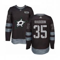 Mens Adidas Dallas Stars 35 Anton Khudobin Authentic Black 1917 2017 100th Anniversary NHL Jersey