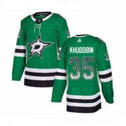 Mens Adidas Dallas Stars 35 Anton Khudobin Authentic Green Drift Fashion NHL Jersey
