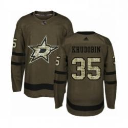 Mens Adidas Dallas Stars 35 Anton Khudobin Authentic Green Salute to Service NHL Jersey