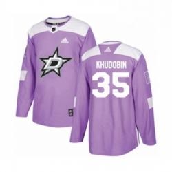 Mens Adidas Dallas Stars 35 Anton Khudobin Authentic Purple Fights Cancer Practice NHL Jersey