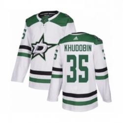 Mens Adidas Dallas Stars 35 Anton Khudobin Authentic White Away NHL Jersey