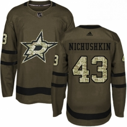 Mens Adidas Dallas Stars 43 Valeri Nichushkin Authentic Green Salute to Service NHL Jersey