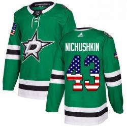 Mens Adidas Dallas Stars 43 Valeri Nichushkin Authentic Green USA Flag Fashion NHL Jersey