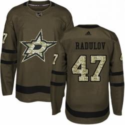 Mens Adidas Dallas Stars 47 Alexander Radulov Authentic Green Salute to Service NHL Jersey
