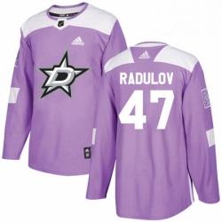 Mens Adidas Dallas Stars 47 Alexander Radulov Authentic Purple Fights Cancer Practice NHL Jersey