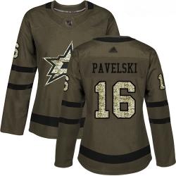 Stars #16 Joe Pavelski Green Salute to Service Women Stitched Hockey Jersey