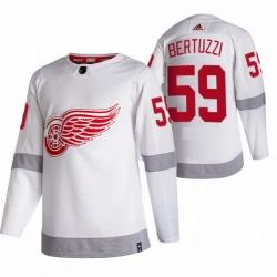 Men Detroit Red Wings 59 Tyler Bertuzzi White Adidas 2020 21 Reverse Retro Alternate NHL Jersey
